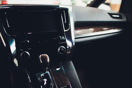 automatic transmission gear level with double-clutch. modern interior.