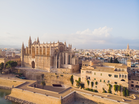 BARCELONA, SPAIN - 22 AUGUST 2018: Aerial cityscape of Palma de Mallorca with cathedral, Balearic Islands, Spain