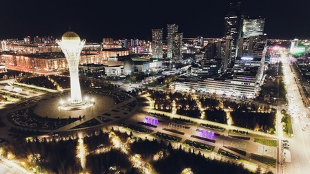 the city of Almaty, Kazakhstan. Aerial night. Stock Photo