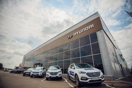 Ufa, Russia July 8, 2018: Hyundai Motor Company Dealership.