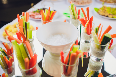 Salad plate and dry ice lettuce catering service Stock Photo