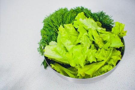 Bushy lettuce salad in metal bowl white table Banque d'images