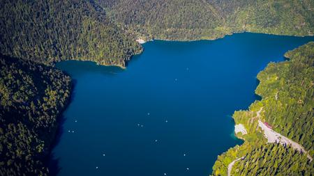 Amazing nature landscape view of lake Ritsa, Abkhazia Aerial view resort town Gagra, Abkhazia, Georgia