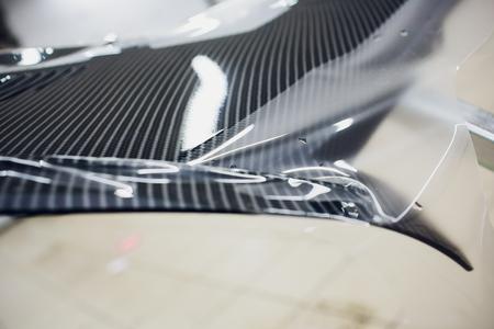 Transparent film wrap, car paint protection ATV 免版税图像