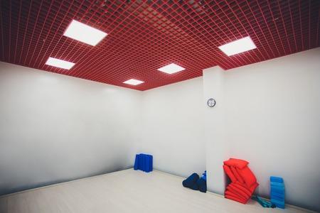 Gymnasium for martial arts training with tatami mat