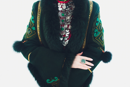 Beautiful girls in national Bashkir costumes. peoples of Russia Stock Photo
