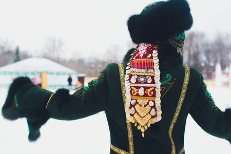 Beautiful girls in national Bashkir costumes. peoples of Russia Stock Photo