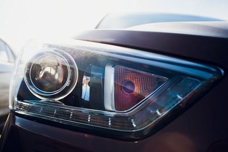 Car headlight with shallow depth of field Imagens