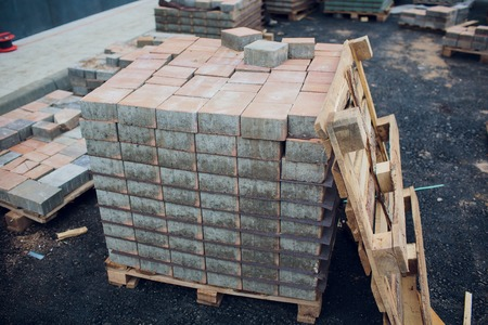 Gray Brick for building in construction site. 스톡 콘텐츠