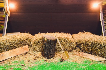 hay bales and pillows. rustic style area. jugs for milk on a haystack. straw. Foto de archivo