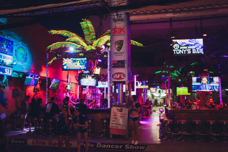 Patong, Thailand - February 22, 2019: The famous red right district Bangla Road in Patong, a bustling street at night for adult entertainment. Editorial