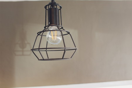 retro incandescent lamp in a modern loft style, wall lamp modern. horizontally.
