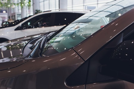 Brand New Cars in Stock. Dealership Vehicles Lot. New Cars Market. Standard-Bild