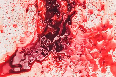 Fresh human bright red blood on floor. Stock fotó