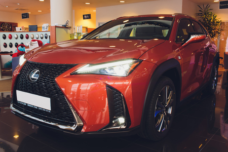 Ufa, Russia, lexus Shop, 23 January, 2019: Side view of White Lexus UX Compact Crossover.