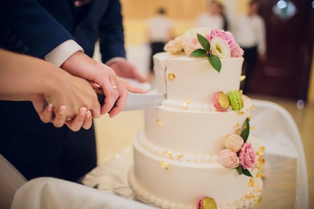 Close up of bride and groom cutting wedding cake.