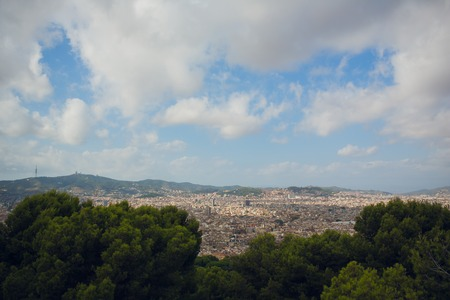 View of the city of Barcelona from afar. Spain.
