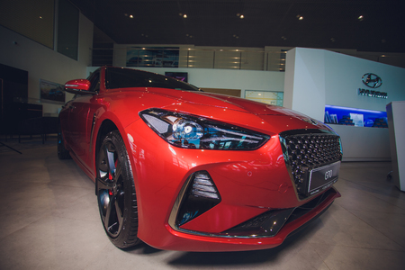 UFA, RUSSIA - MAY 23: Model car Genesis G70 red Éditoriale