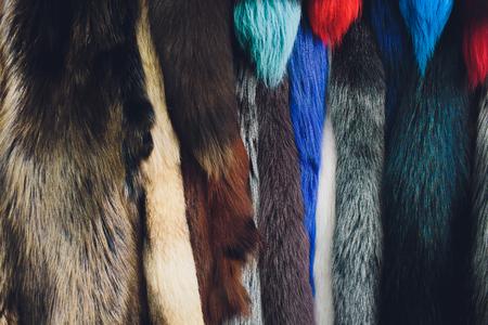 Macro view of brown fur. Close up. silver fox. colored. Archivio Fotografico