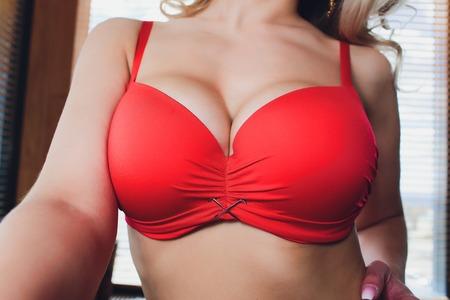 Decollete, female breast. Neckline red dress and fur collar.