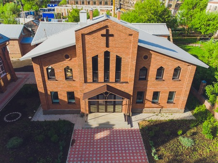 View of Jesus Evangelical Lutheran church that is located in the city center. view from quadcopter.