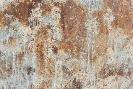 White Rust Metal Decayed Crumpled Sheet Wide Background. Weathered Iron Rusty Isolated Metallic Texture. Corroded Steel Structure. Abstract Web Banner