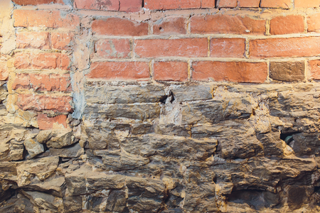 Old grunge brick wall for your abstract, vintage background. Red brick texture image Stock Photo - 124564562