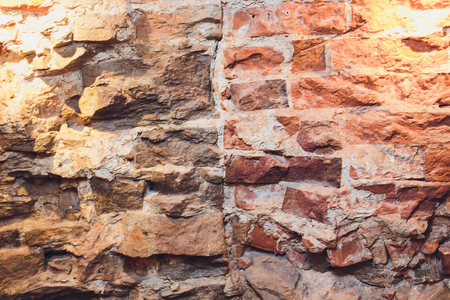 Old grunge brick wall for your abstract, vintage background. Red brick texture image Stock Photo