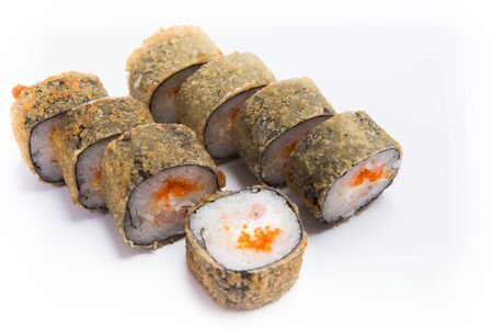 Japanese seafood sushi , roll on a white background. Banco de Imagens
