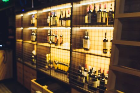 Blurred image of liquor shop for background uses. Stock Photo