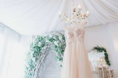 Rich pink wedding dress hangs on a chandelier in a white room.