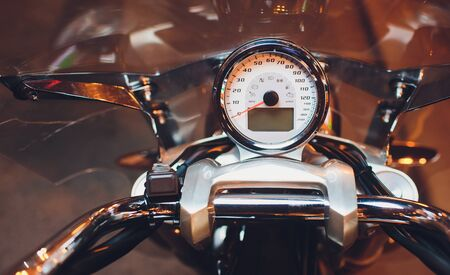 Motorcycle control panel with speedometer dashboard in motorcycle. Stock Photo
