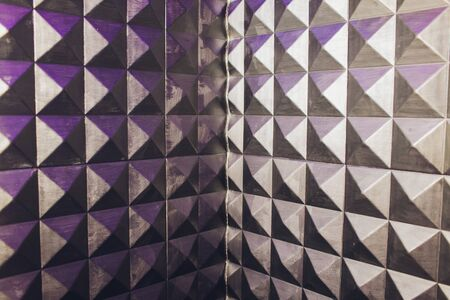 concrete wall texture stucco cement white and gray geometric seamless triangle pyramid background with shadow and light. Stockfoto