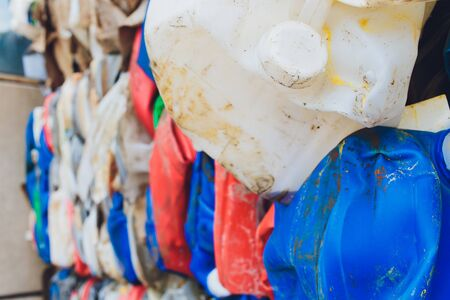 Plastic pressed bales at the modern waste hazardous processing plant. Separate garbage collection. Recycling and storage of waste for further disposal. Business for sorting and processing of waste. Banque d'images