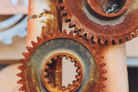 Mechanical collage made of clockwork gears rust. 写真素材