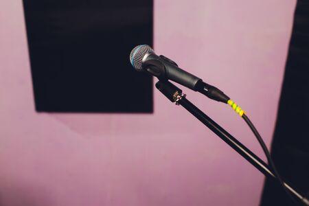 Professional condenser studio microphone, Musical Concept. recording 스톡 콘텐츠