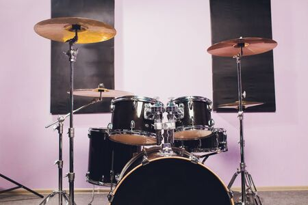 Close-up of Drummer and his Kit, Playing Live with his Band.