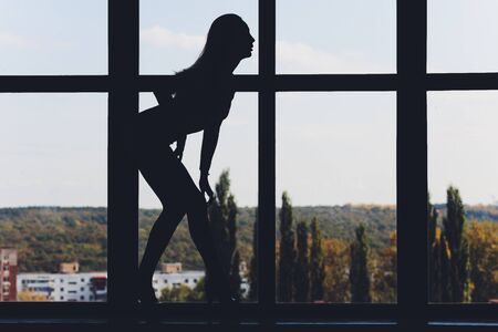 A silhouette of a woman doing yoga on background of windows with beautiful winter landscape with trees in the snow and sunlight, young yogi girl in warriors position. Banque d'images - 131287171