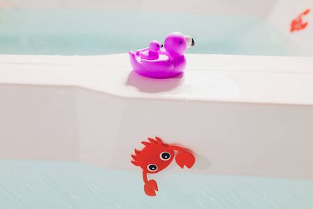 childrens toys in the bathroom with water. Standard-Bild - 131313641