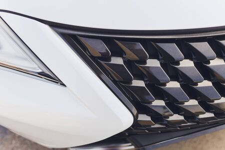 Modern luxury car close-up of grille close-up. Stok Fotoğraf