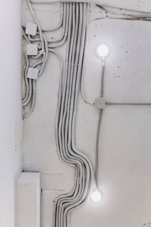 background of used electrical wires at collection center.