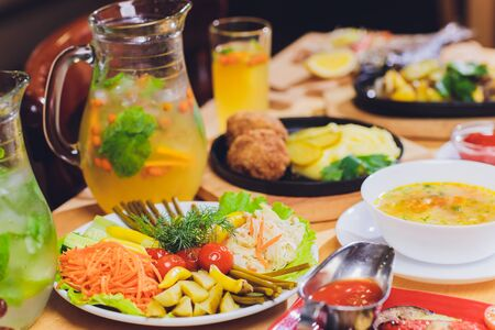 Food Table Celebration Delicious Party Meal Concept. A lot of food. Served for wedding, anniversary, other holiday. Banquet dishes in the restaurant. Stock Photo - 131363092