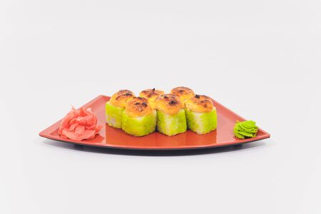 Snow crab, salmon, cream cheese and cucumber rolls isolated on white background