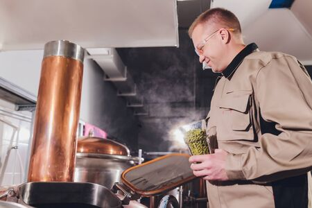 Brewer with green hops dressed in apron and checkered shirt at the manufacturing. Epertising quality of beer ingredients.