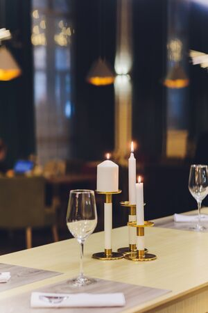 beautifully served table in a restaurant Luxury holiday place. Stock Photo