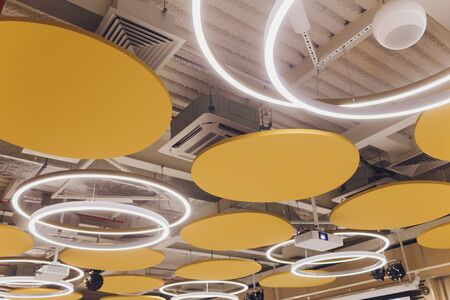 Beautiful ceiling with LED lighting flat round