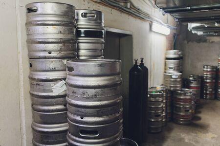 Modern aluminum barrels where grape juice is aged into wine Reklamní fotografie