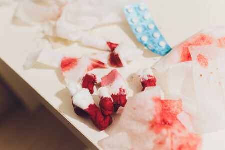 garbage with blood at surgery. image wit shallow DOF. Reklamní fotografie