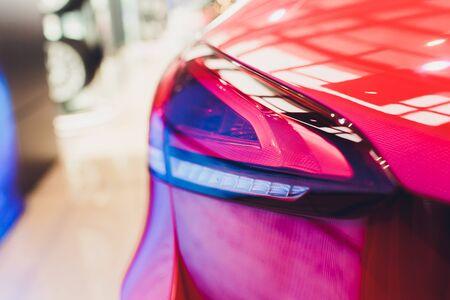 Suburban vehicle red rear brake light car.