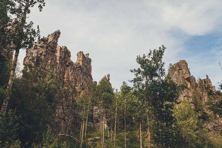 Inzer teeth Inzer rocks near the Tirlyansky village. Russia, South Ural, Bashkortostan Republic, Beloretsky district.